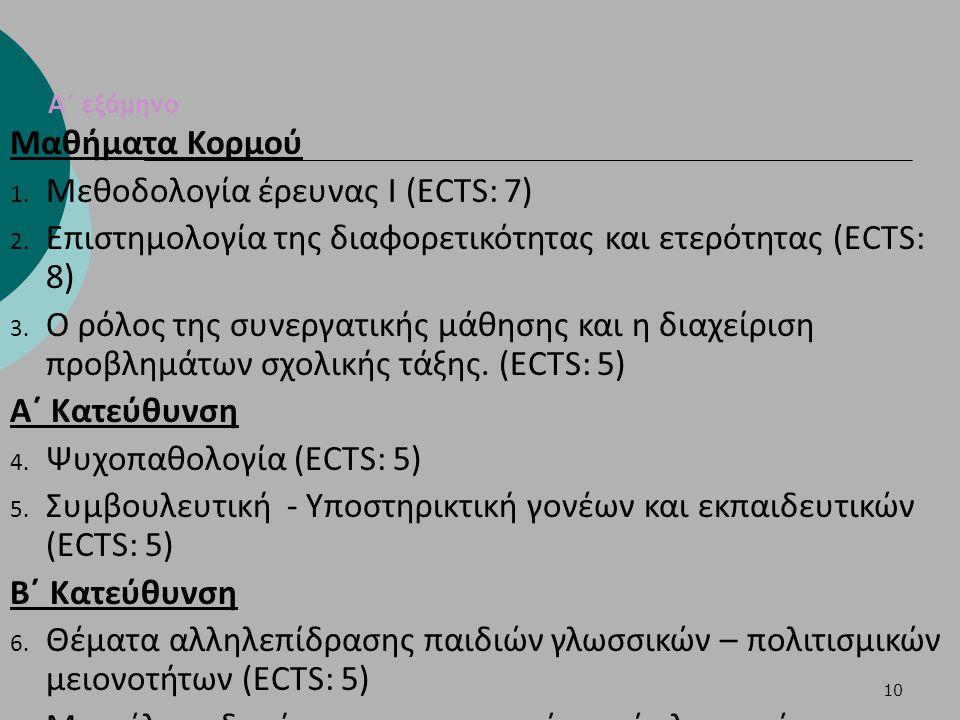 Μεθοδολογία έρευνας Ι (ECTS: 7)