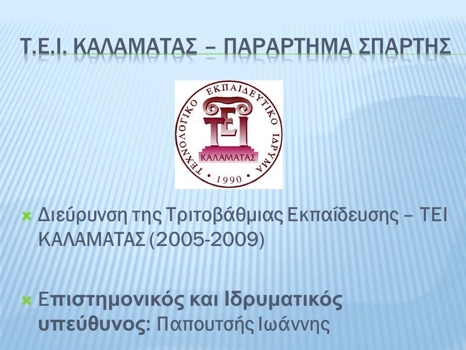 Τ.Ε.Ι. ΚΑΛΑΜΑΤΑΣ – ΠΑΡΑΡΤΗΜΑ ΣΠΑΡΤΗΣ