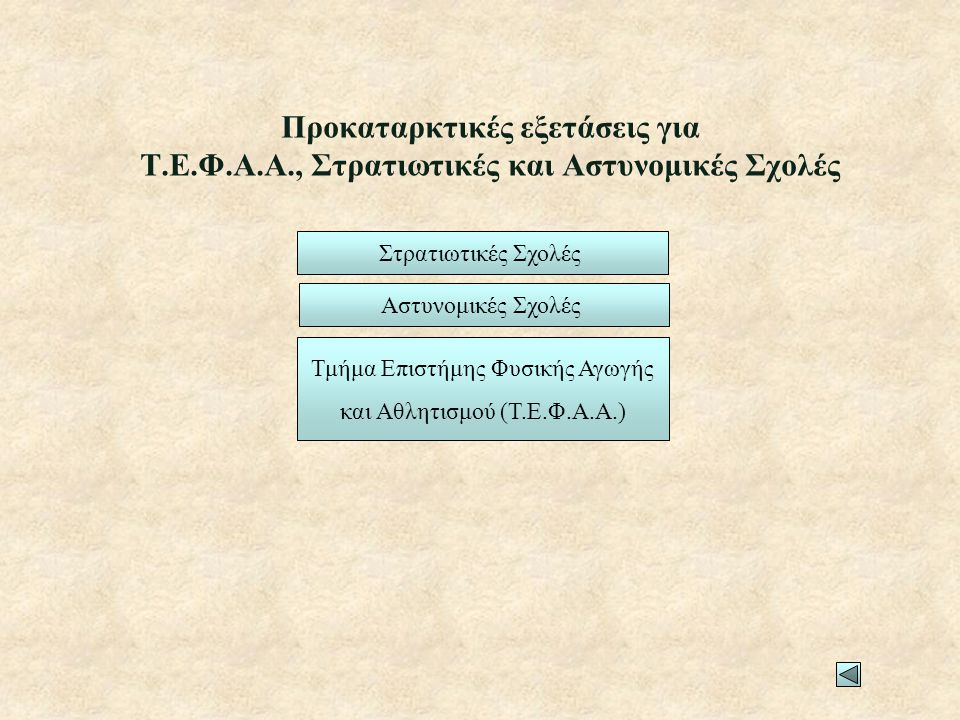 Προκαταρκτικές εξετάσεις για Τ. Ε. Φ. Α. Α