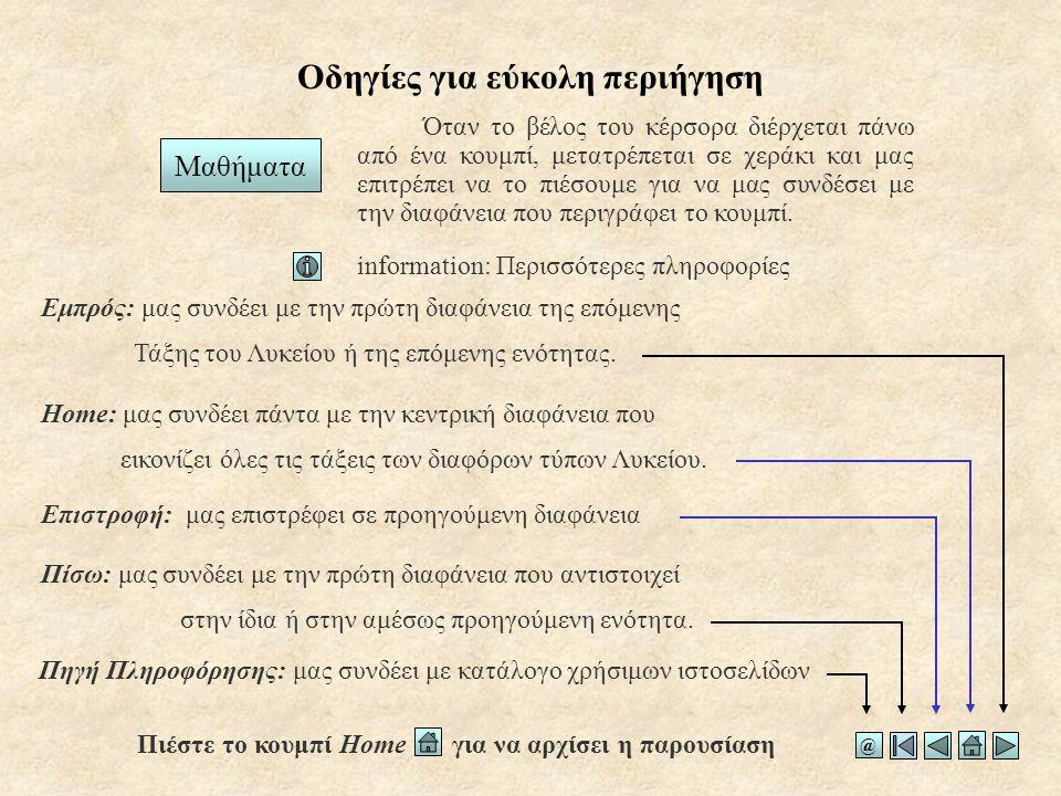 Οδηγίες για εύκολη περιήγηση