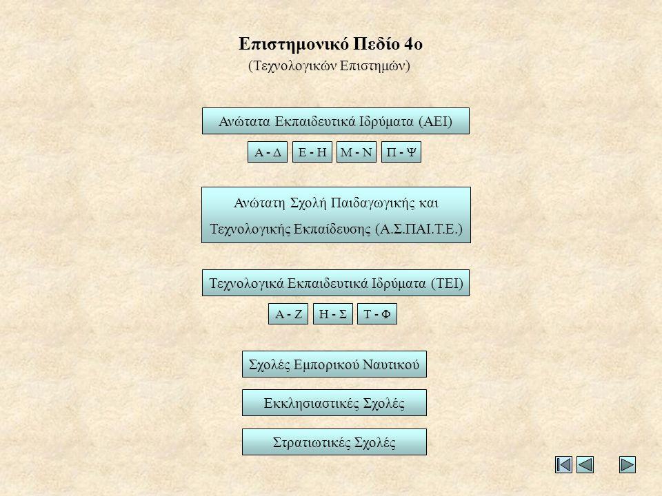 Επιστημονικό Πεδίο 4ο (Τεχνολογικών Επιστημών)