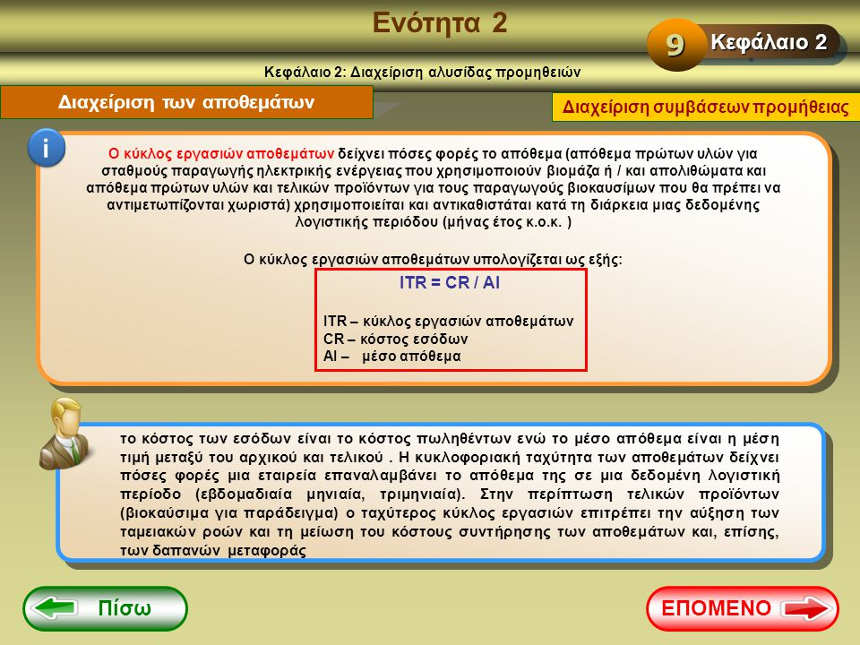 Ενότητα 2 9 i Κεφάλαιο 2 Πίσω ΕΠΟΜΕΝΟ Διαχείριση των αποθεμάτων