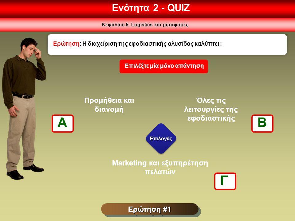 A B Γ Ενότητα 2 - QUIZ Προμήθεια και διανομή