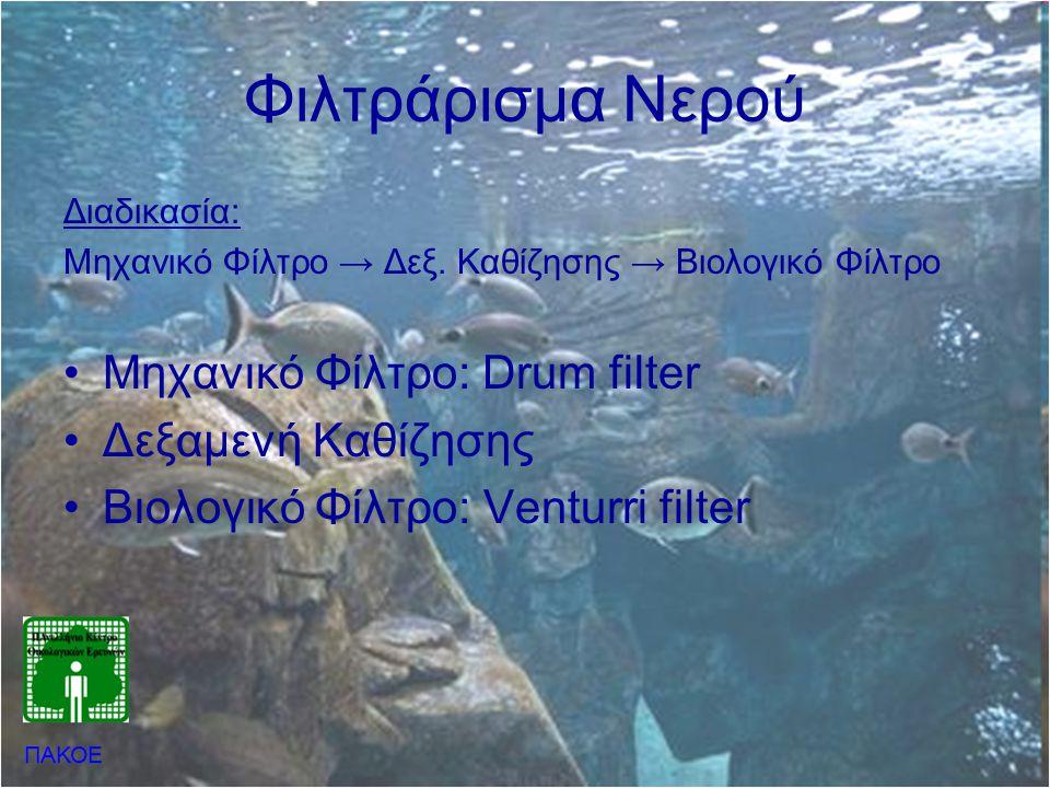 Φιλτράρισμα Νερού Μηχανικό Φίλτρο: Drum filter Δεξαμενή Καθίζησης