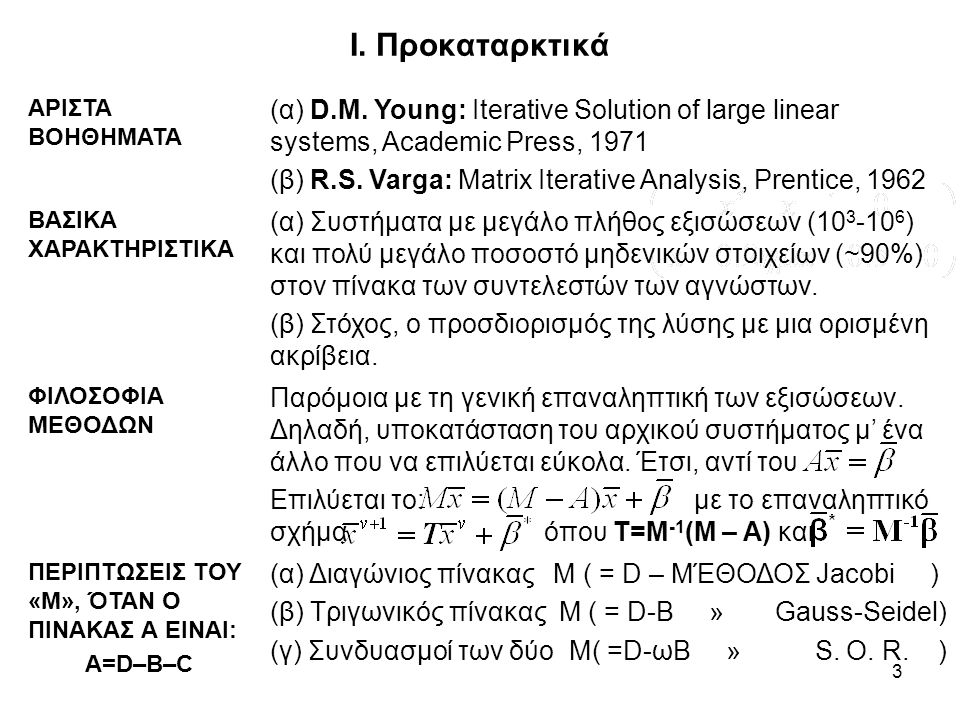 Ι. Προκαταρκτικά ΑΡΙΣΤΑ ΒΟΗΘΗΜΑΤΑ. (α) D.M. Young: Iterative Solution of large linear systems, Academic Press, 1971.