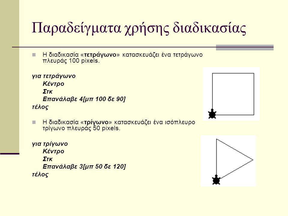 Παραδείγματα χρήσης διαδικασίας