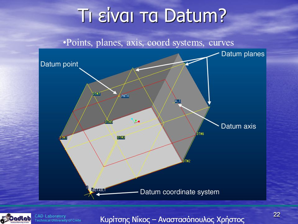 Τι είναι τα Datum Points, planes, axis, coord systems, curves
