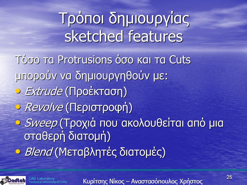 Τρόποι δημιουργίας sketched features