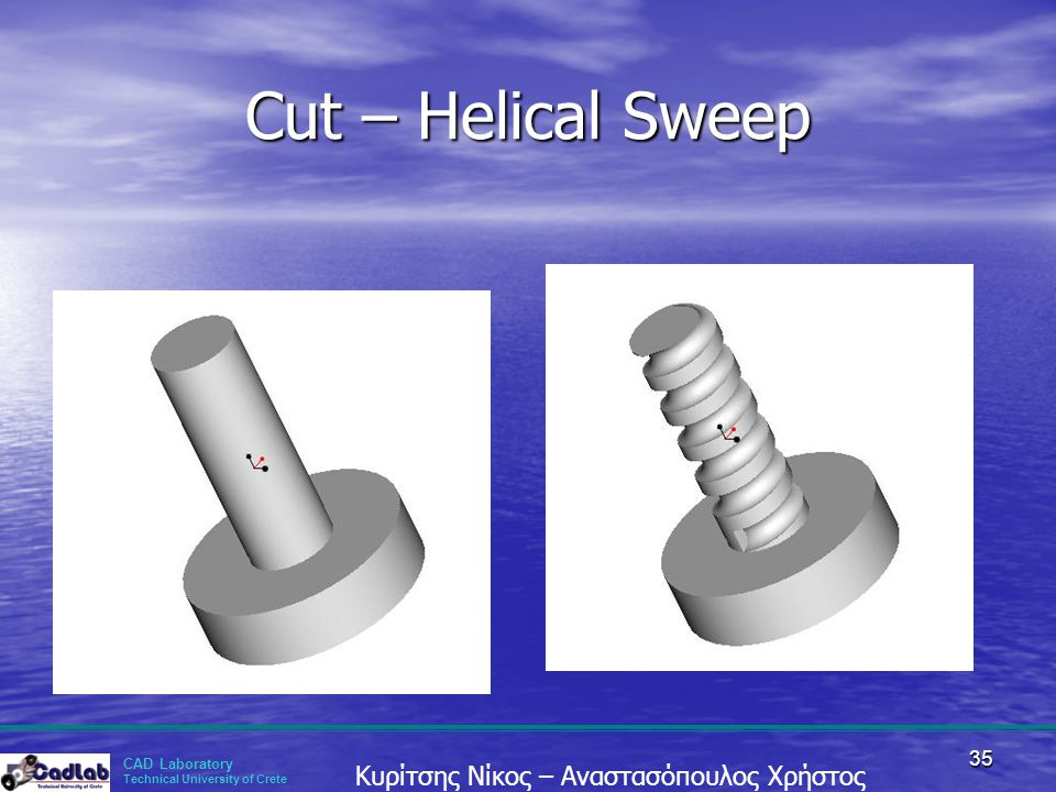 Cut – Helical Sweep