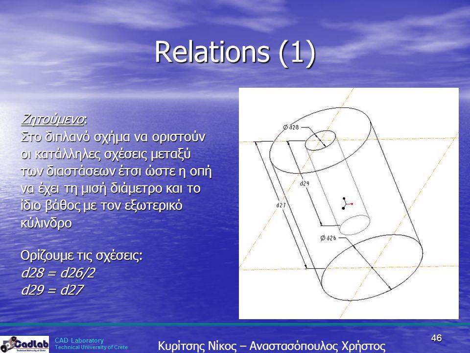 Relations (1) Ζητούμενο: Στο διπλανό σχήμα να οριστούν