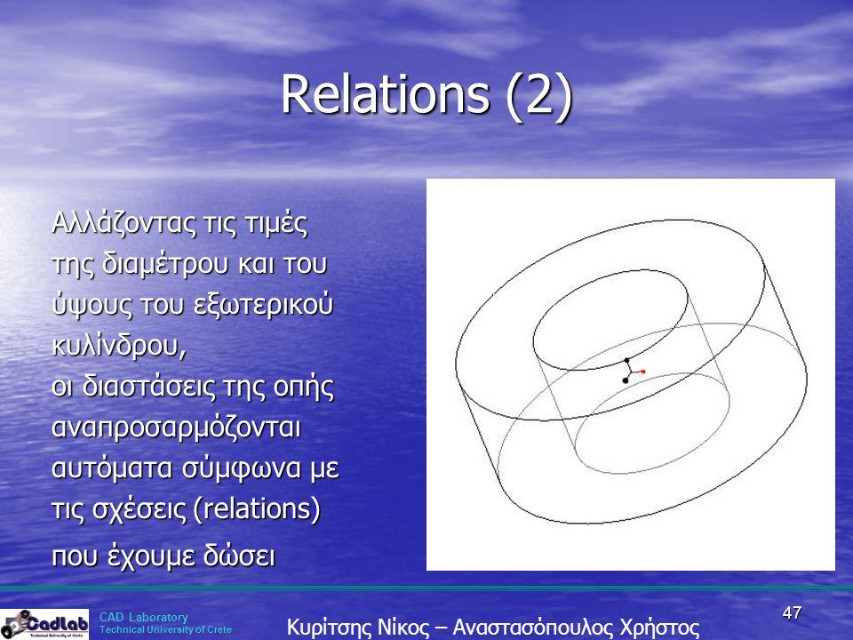 Relations (2) Αλλάζοντας τις τιμές της διαμέτρου και του