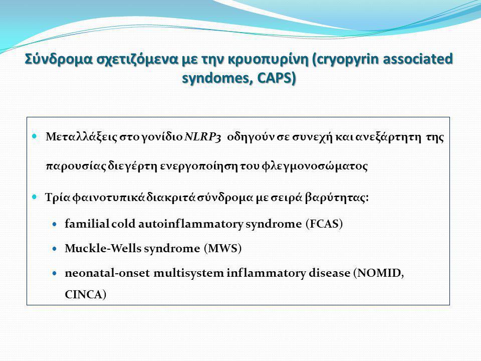 Σύνδρoμα σχετιζόμενα με την κρυοπυρίνη (cryopyrin associated syndomes, CAPS)