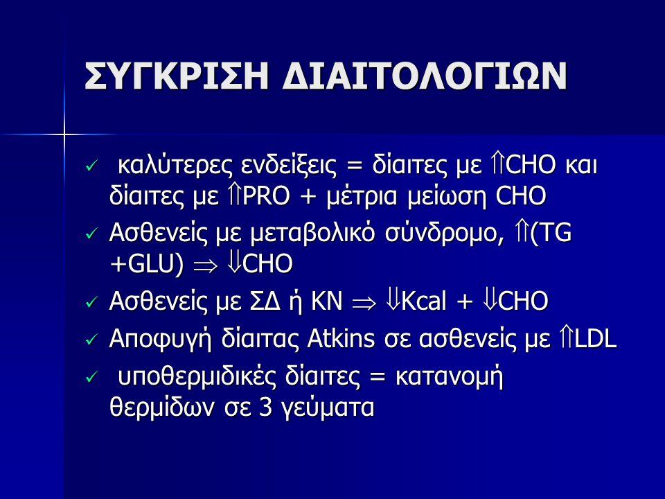 ΣΥΓΚΡΙΣΗ ΔΙΑΙΤΟΛΟΓΙΩΝ