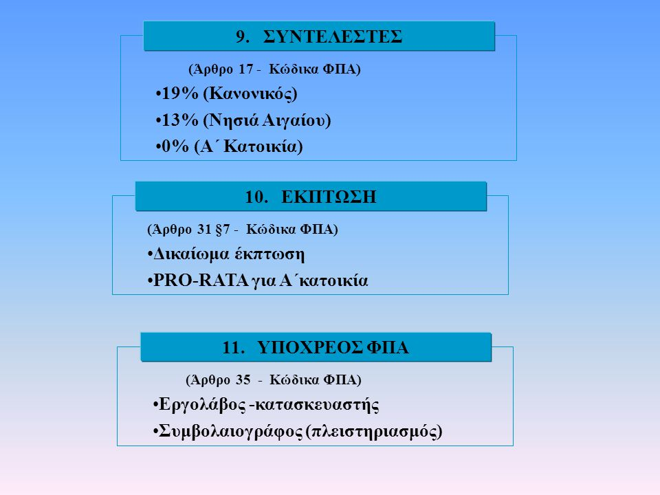 9. ΣΥΝΤΕΛΕΣΤΕΣ 10. ΕΚΠΤΩΣΗ 11. ΥΠΟΧΡΕΟΣ ΦΠΑ
