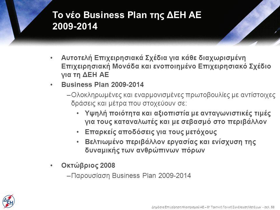 Το νέο Business Plan της ΔΕΗ ΑΕ 2009-2014