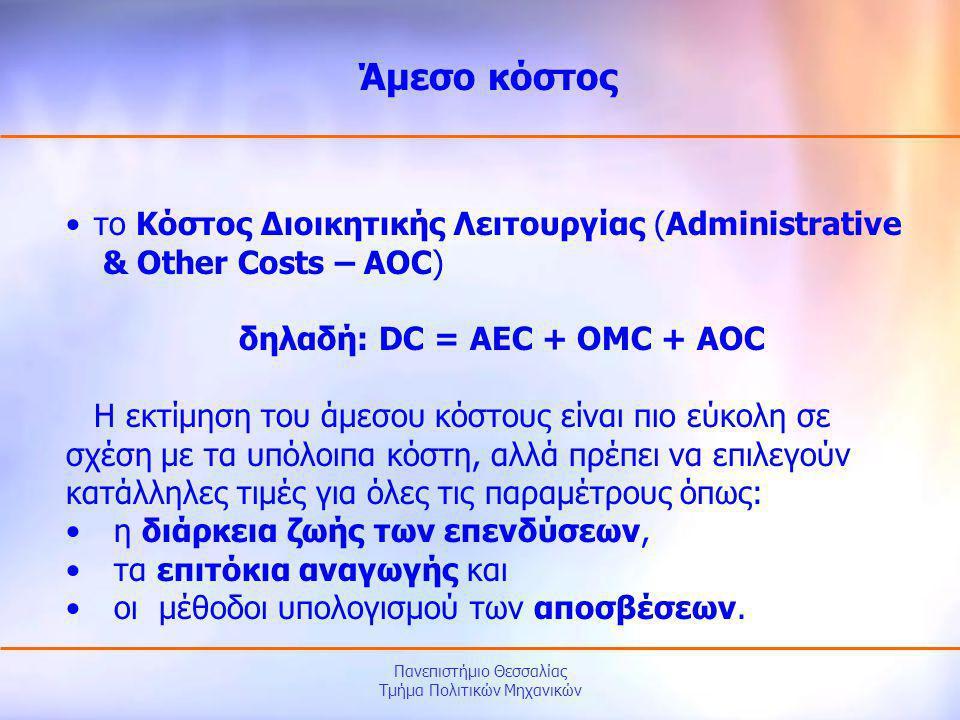 δηλαδή: DC = AEC + OMC + AOC