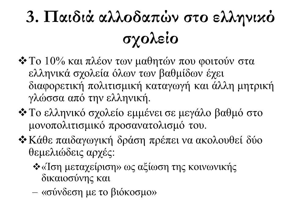 3. Παιδιά αλλοδαπών στο ελληνικό σχολείο