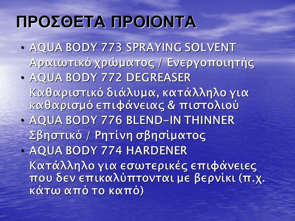 ΠΡΟΣΘΕΤΑ ΠΡΟΙΟΝΤΑ AQUA BODY 773 SPRAYING SOLVENT