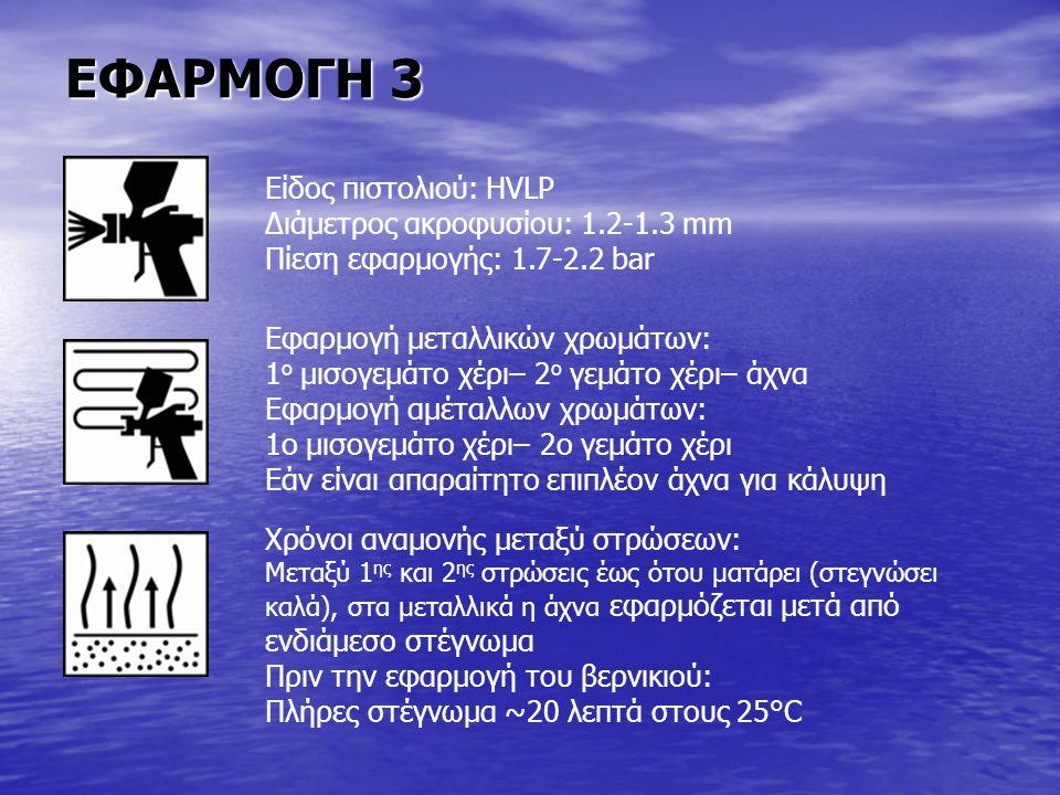 ΕΦΑΡΜΟΓΗ 3 Είδος πιστολιού: HVLP Διάμετρος ακροφυσίου: 1.2-1.3 mm