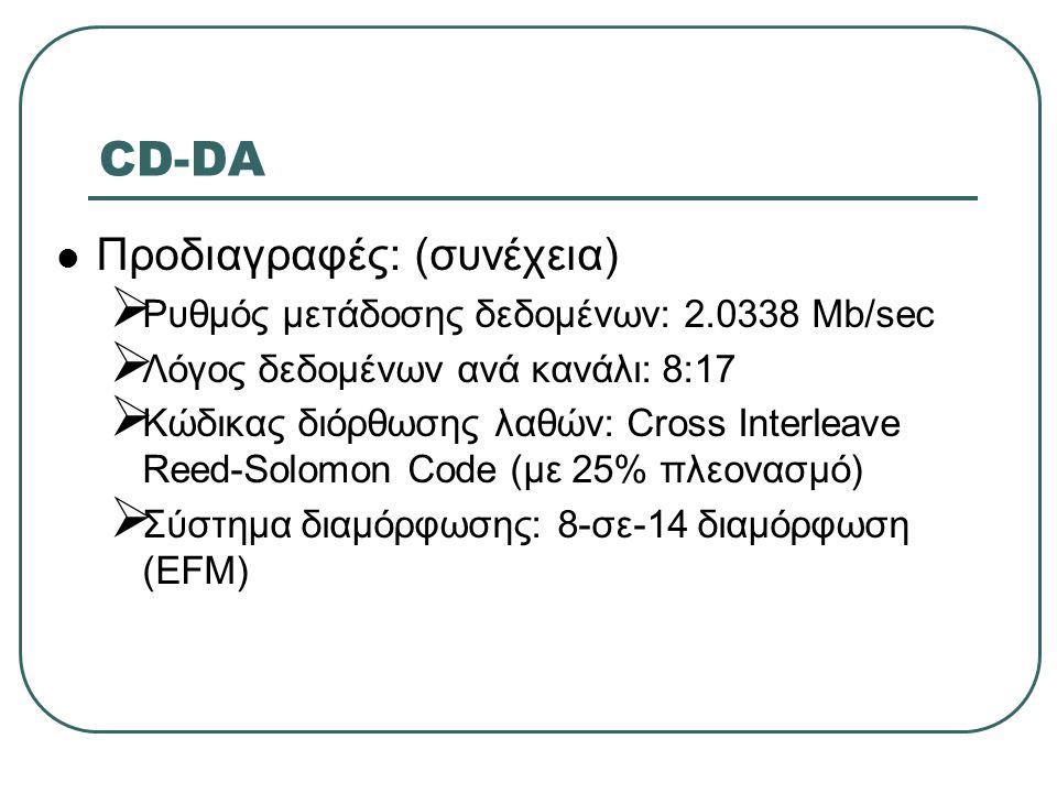 CD-DA Προδιαγραφές: (συνέχεια)