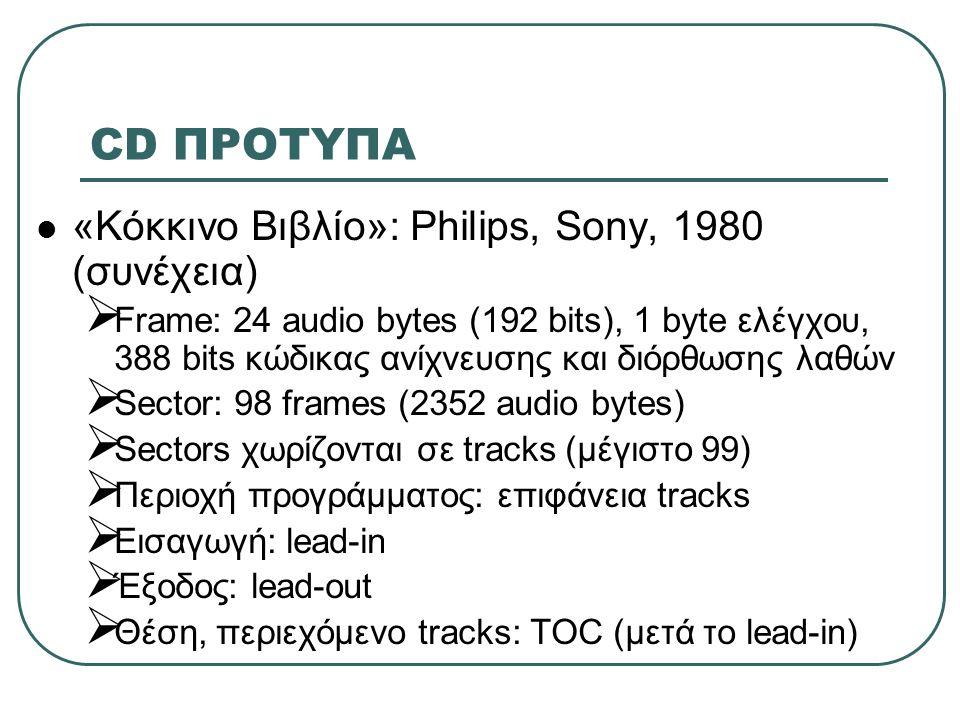 CD ΠΡΟΤΥΠΑ «Κόκκινο Βιβλίο»: Philips, Sony, 1980 (συνέχεια)