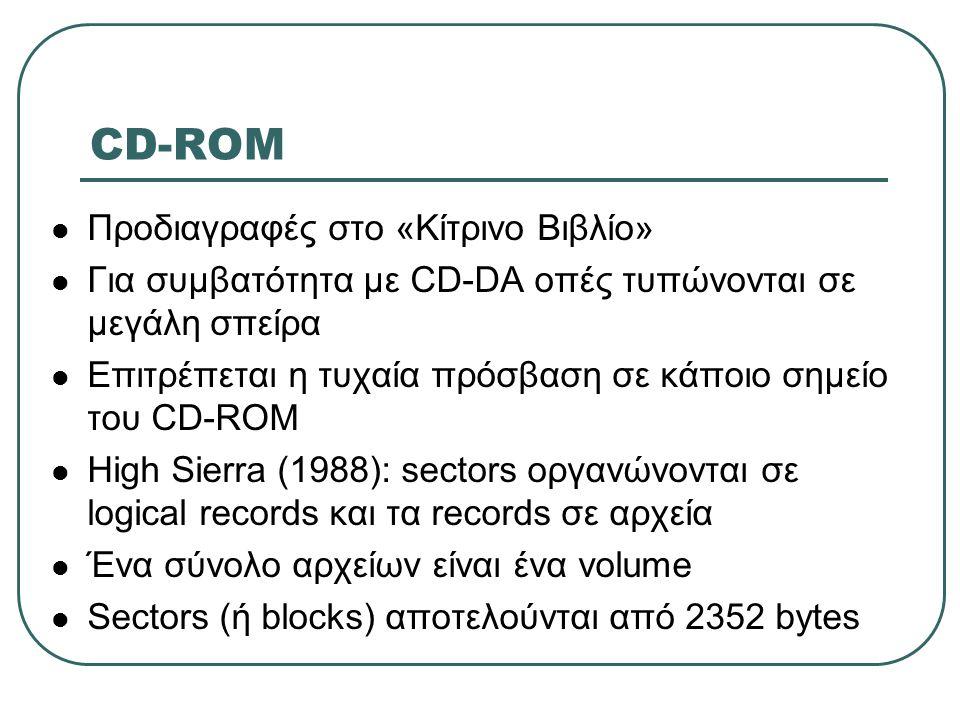 CD-ROM Προδιαγραφές στο «Κίτρινο Βιβλίο»