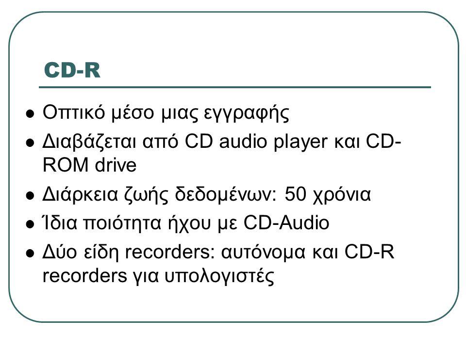 CD-R Οπτικό μέσο μιας εγγραφής