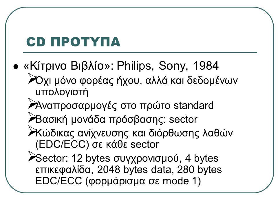 CD ΠΡΟΤΥΠΑ «Κίτρινο Βιβλίο»: Philips, Sony, 1984