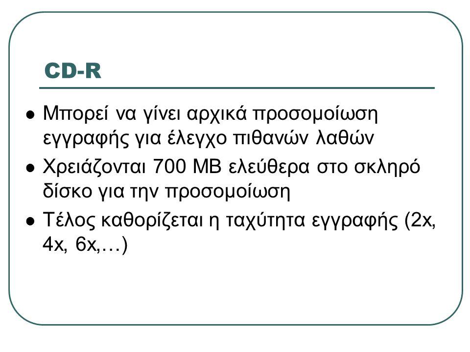 CD-R Μπορεί να γίνει αρχικά προσομοίωση εγγραφής για έλεγχο πιθανών λαθών. Χρειάζονται 700 ΜΒ ελεύθερα στο σκληρό δίσκο για την προσομοίωση.