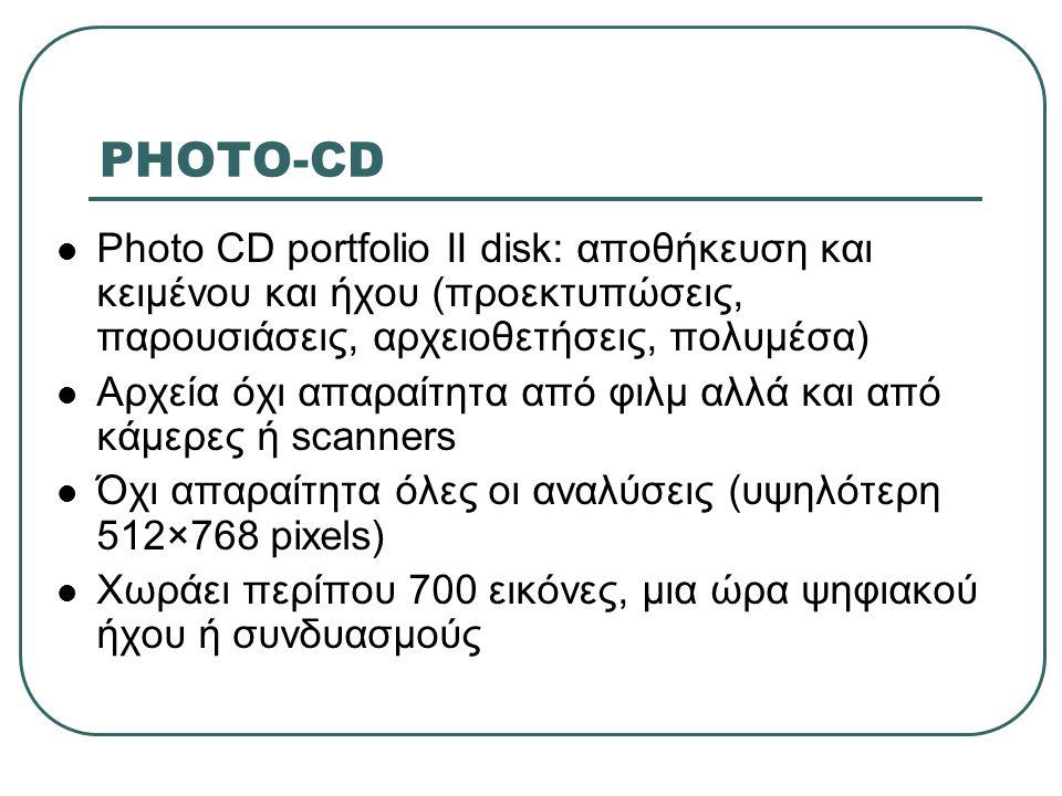 PHOTO-CD Photo CD portfolio II disk: αποθήκευση και κειμένου και ήχου (προεκτυπώσεις, παρουσιάσεις, αρχειοθετήσεις, πολυμέσα)