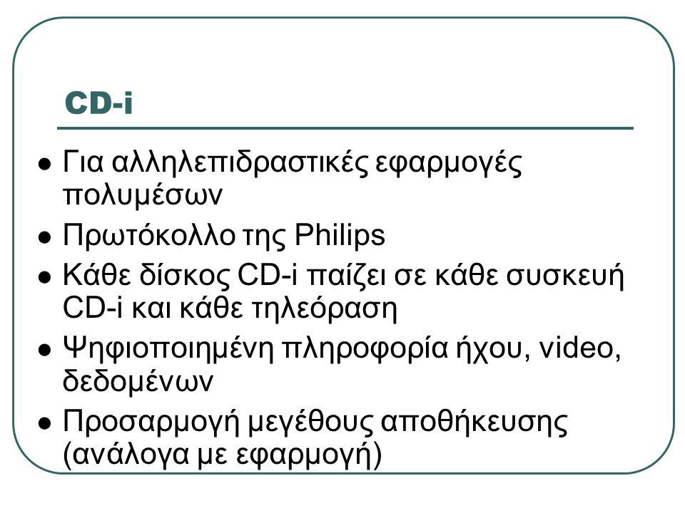 CD-i Για αλληλεπιδραστικές εφαρμογές πολυμέσων Πρωτόκολλο της Philips