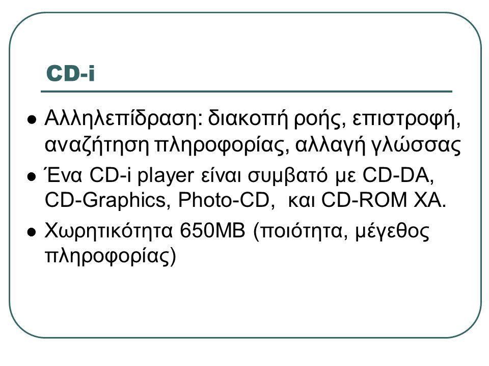 CD-i Αλληλεπίδραση: διακοπή ροής, επιστροφή, αναζήτηση πληροφορίας, αλλαγή γλώσσας.