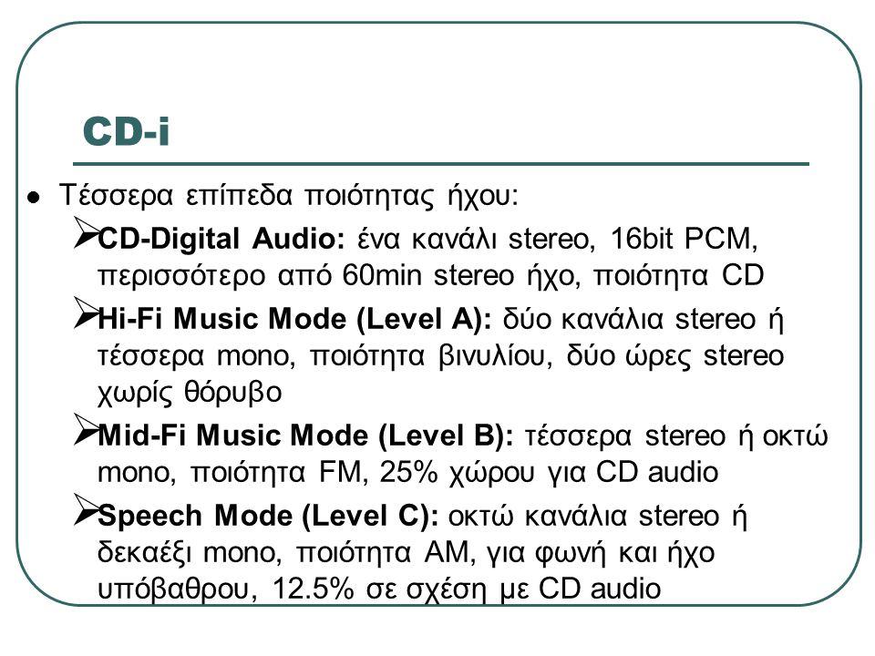 CD-i Τέσσερα επίπεδα ποιότητας ήχου:
