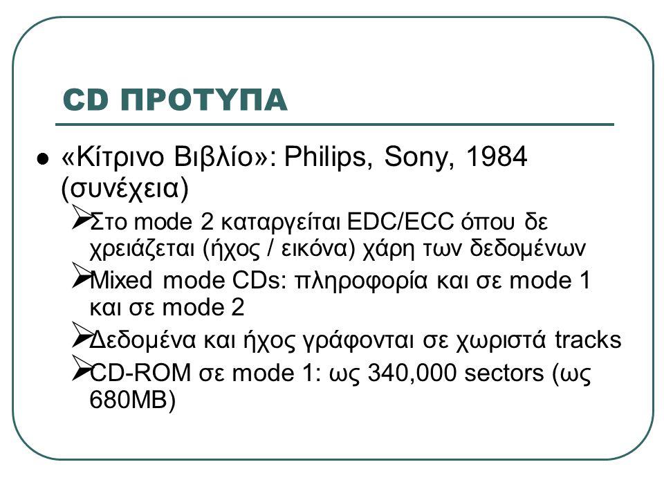 CD ΠΡΟΤΥΠΑ «Κίτρινο Βιβλίο»: Philips, Sony, 1984 (συνέχεια)