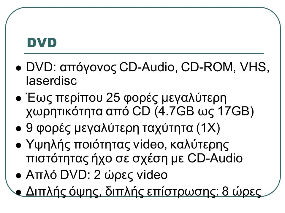 DVD DVD: απόγονος CD-Audio, CD-ROM, VHS, laserdisc
