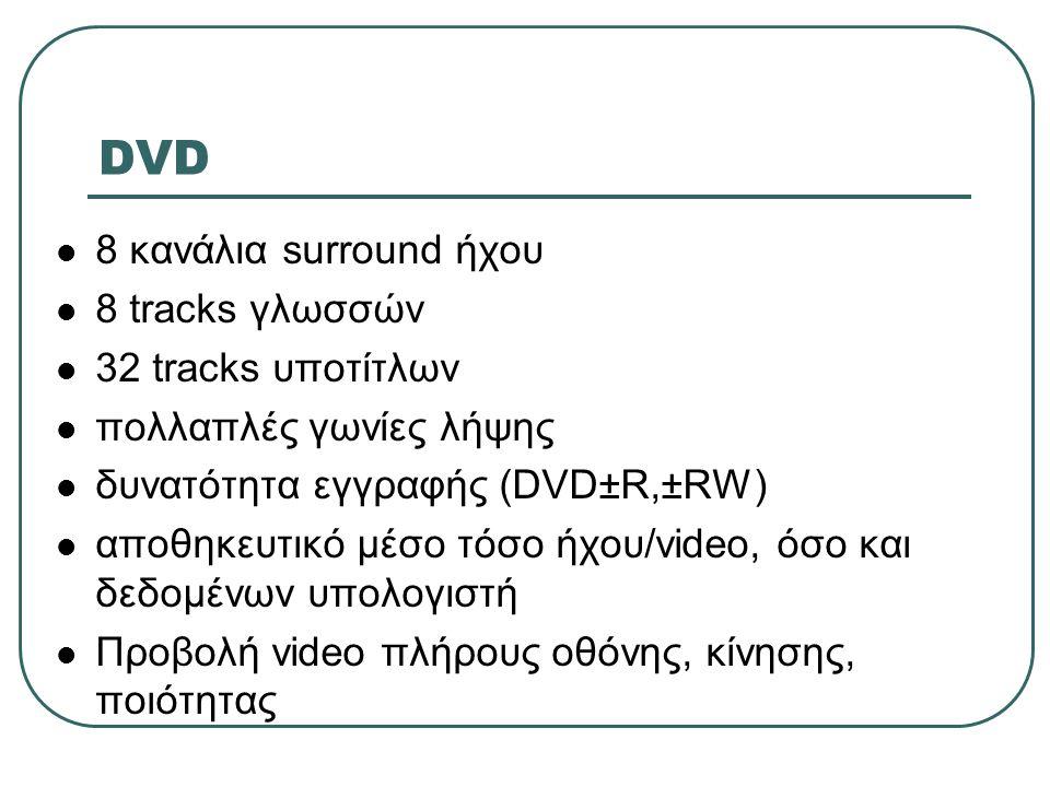 DVD 8 κανάλια surround ήχου 8 tracks γλωσσών 32 tracks υποτίτλων