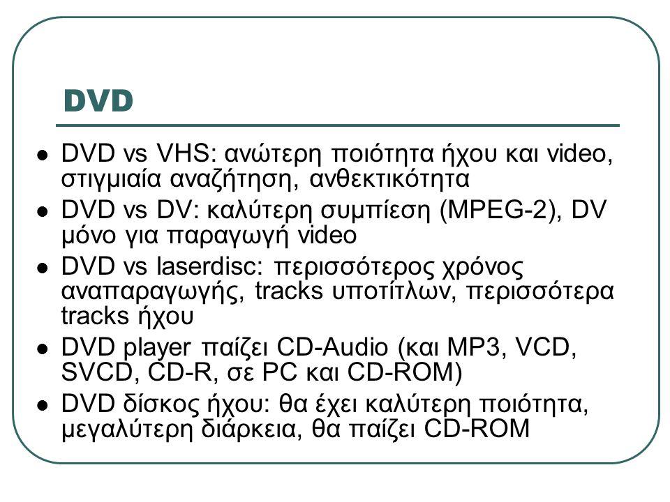 DVD DVD vs VHS: ανώτερη ποιότητα ήχου και video, στιγμιαία αναζήτηση, ανθεκτικότητα.