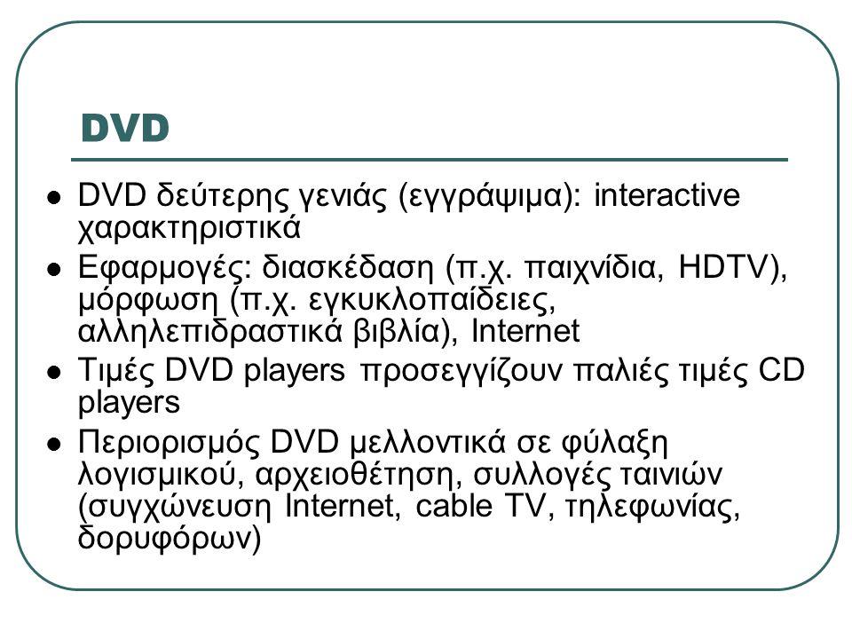 DVD DVD δεύτερης γενιάς (εγγράψιμα): interactive χαρακτηριστικά