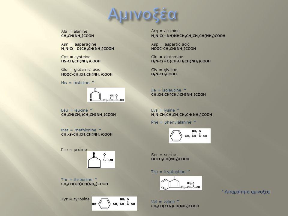 Αμινοξέα * Απαραίτητα αμινοξέα Ala = alanine CH3CH(NH2)COOH
