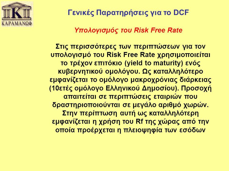 Γενικές Παρατηρήσεις για το DCF Υπολογισμός του Risk Free Rate