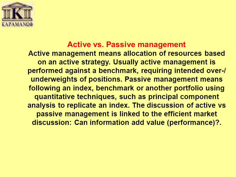 Active vs. Passive management