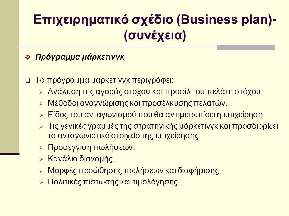 Επιχειρηματικό σχέδιο (Business plan)-(συνέχεια)