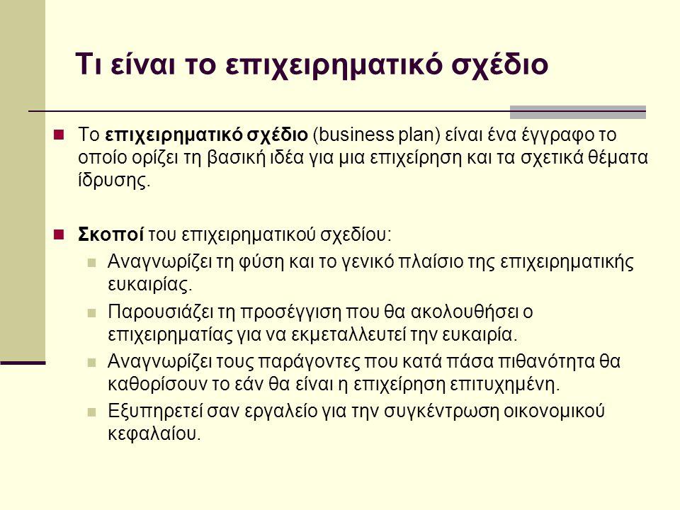 Τι είναι το επιχειρηματικό σχέδιο