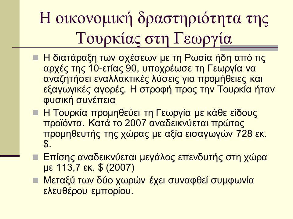 Η οικονομική δραστηριότητα της Τουρκίας στη Γεωργία