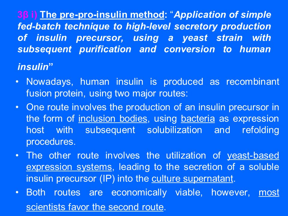 3β i) The pre-pro-insulin method: Application of simple fed-batch technique to high-level secretory production of insulin precursor, using a yeast strain with subsequent purification and conversion to human insulin