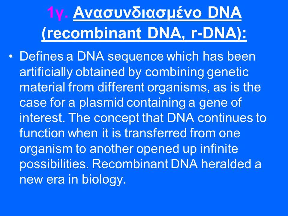 1γ. Ανασυνδιασμένο DNA (recombinant DNA, r-DNA):