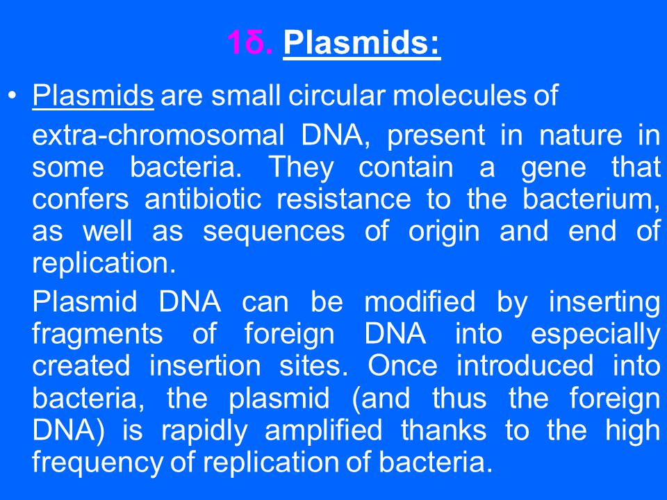 1δ. Plasmids: Plasmids are small circular molecules of