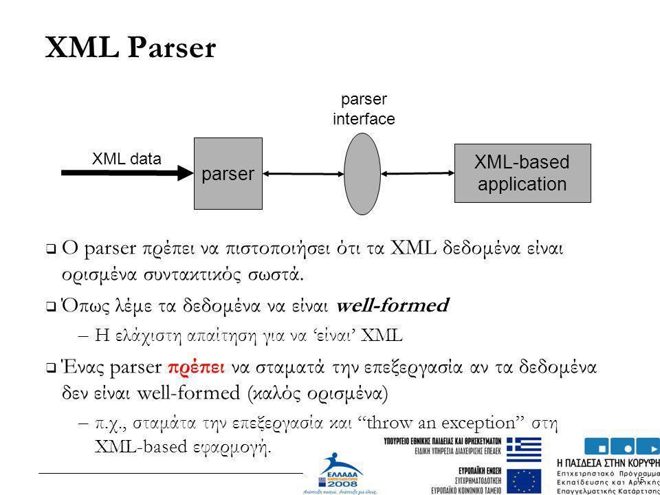XML Parser O parser πρέπει να πιστοποιήσει ότι τα XML δεδομένα είναι ορισμένα συντακτικός σωστά. Όπως λέμε τα δεδομένα να είναι well-formed.