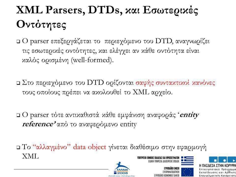 XML Parsers, DTDs, και Εσωτερικές Οντότητες