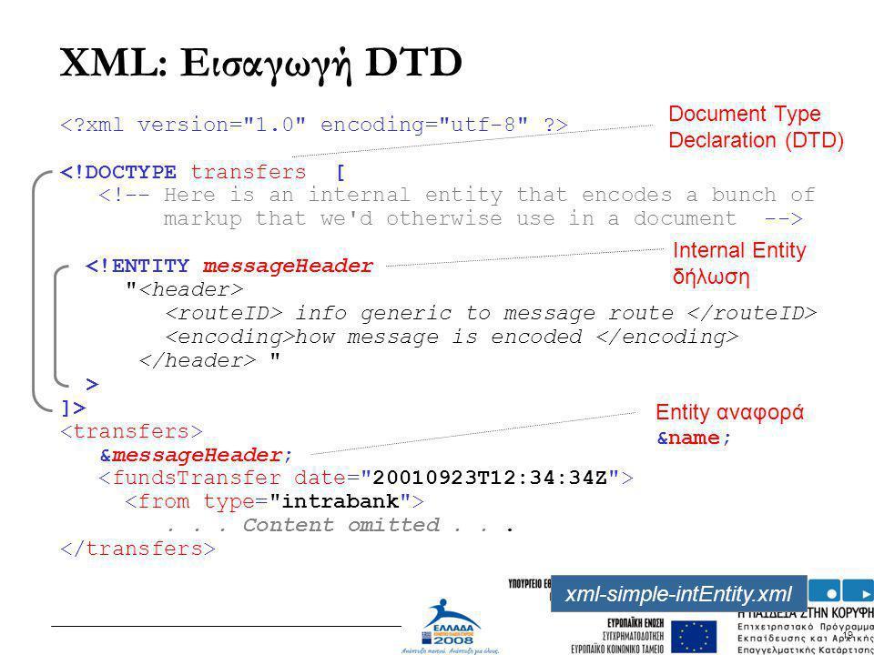 XML: Εισαγωγή DTD Document Type Declaration (DTD)